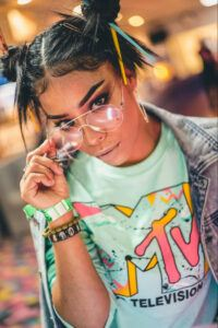 Girl in MTV shirt