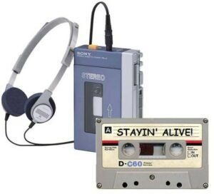 Sony Walkman with headphones and cassette